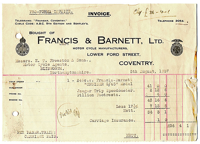 Freeston Garage 1930s Invoices